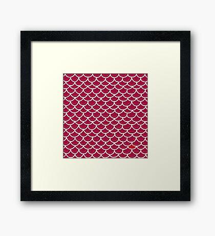Fish scales burgundy Framed Print