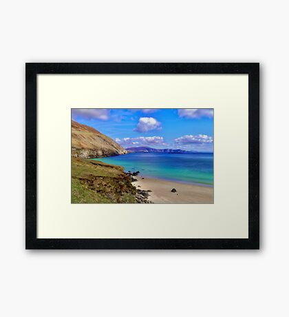Keem Bay With The Minaun Cliffs In The Distance Off Achill Island Framed Print