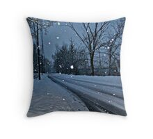 Looking Down The Snowy Road Throw Pillow
