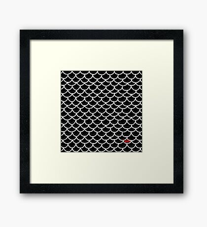 Fish scales black Framed Print
