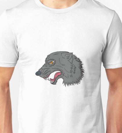 Grey Wolf Head Growling Drawing Unisex T-Shirt