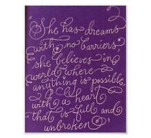 Inspirational quote for girls calligraphy art by Melissa Goza