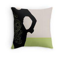 pretty woman in green Throw Pillow