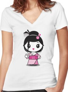 Geisha Grooves Women's Fitted V-Neck T-Shirt
