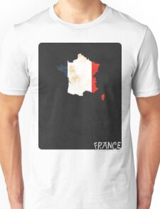 France Minimalist Vintage Map with Flag Unisex T-Shirt