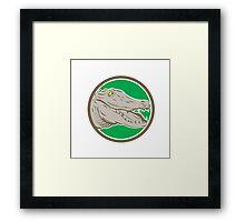 Alligator Head Snout Circle Retro Framed Print