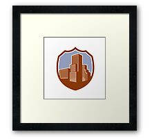 Urban Skyscraper Buildings Shield Retro Framed Print