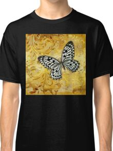 Gilded Garden a butterfly amidst golden floral shapes Classic T-Shirt