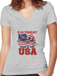 F-14 Tomcat Made in the USA Women's Fitted V-Neck T-Shirt