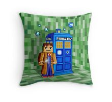 8bit blue phone box with space and time traveller Throw Pillow