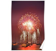 Fireworks Over Lake Michigan Poster