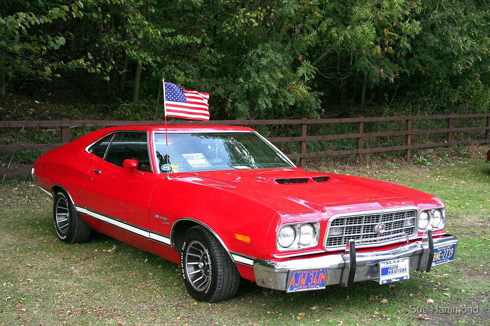 Red car vehicle flag america wheels hamsta12 shropshire england photography card men by Sue Hammond