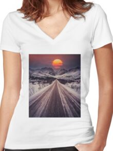 Norway Hills in picture Women's Fitted V-Neck T-Shirt