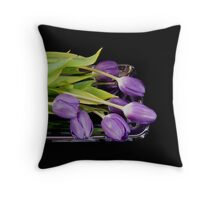Purple on Silver Throw Pillow