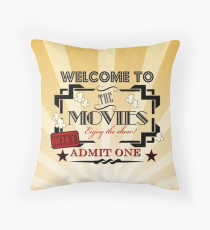 Movie Theater  Admit one ticket  Cinema Pillow-Red Throw Pillow
