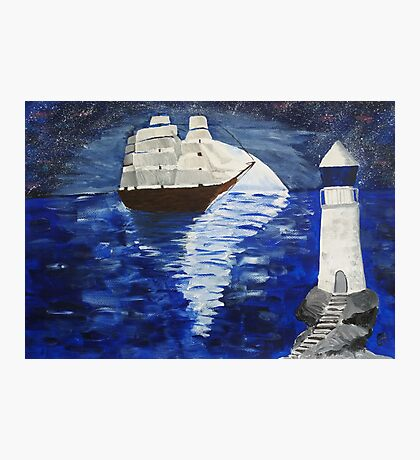 Ship with moon and lighthouse Photographic Print