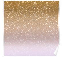 Peach Pink Sparkles Ombre Poster