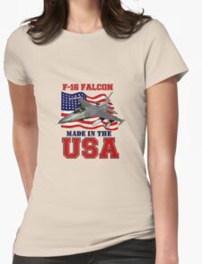F-16 Falcon Made in the USA Womens Fitted T-Shirt
