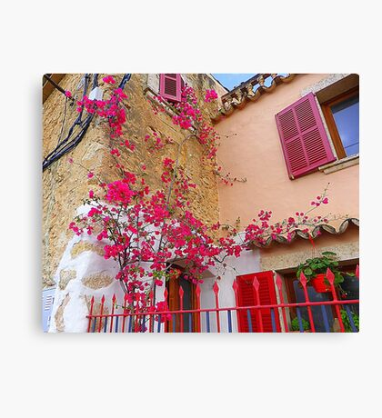 Pink Shutters With Bougainvillea............................Majorca Canvas Print