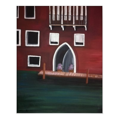Venice Inspired Green Brown Home on the canal painting by Melissa Goza