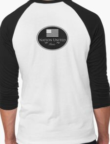 Nation United Music Logo Black Flag Reserve (B/W) Men's Baseball ¾ T-Shirt