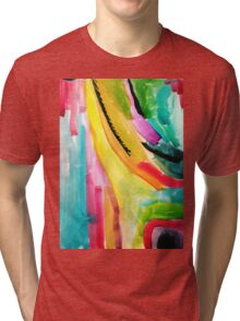 Colorful Abstract Painting in WaterColor Tri-blend T-Shirt