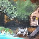 Painting of a cabin on a tree bark by Melissa Goza