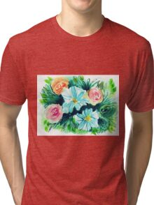 Blue Flowers in Watercolor Painting Tri-blend T-Shirt