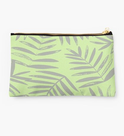Lime and Gray Tropical Fern Studio Pouch
