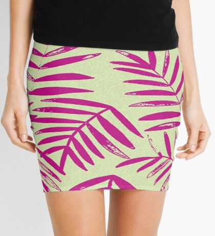 Pink and Lime Tropical Fern Mini Skirt