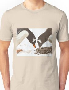 A gentoo penguin couple preparing their nest Unisex T-Shirt