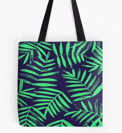 Navy Blue and Lime Tropical Pattern Tote Bag
