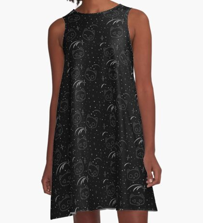 Constellation Cats - Black A-Line Dress