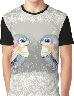 Exotic Silver Lovebirds Graphic T-Shirt
