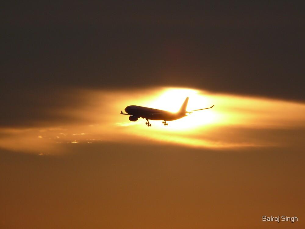 Plane Landing at Kuala Lumpur International Airport (KLIA) during sunset by Balraj Singh