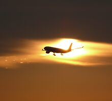 Plane Landing at Kuala Lumpur International Airport (KLIA) during sunset by Balraj Singh