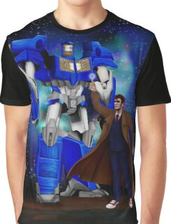 Giant retro Robot Phone Box with The 10th Doctor Graphic T-Shirt