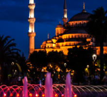 The Blue Mosque At Night Sticker
