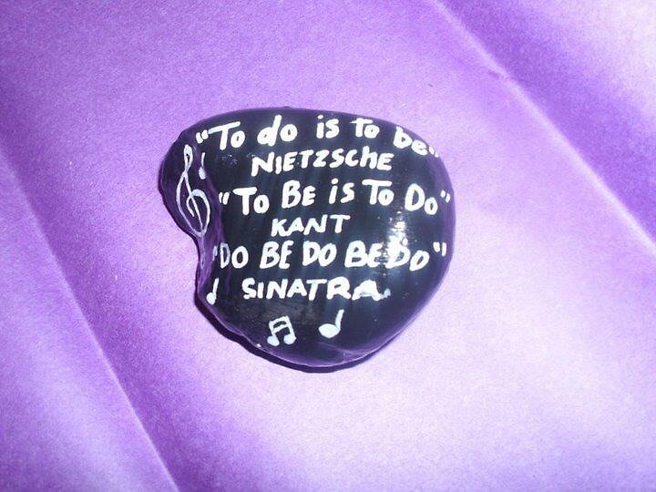 Hand painted Rock Do be do be do by Melissa Goza
