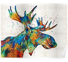 Colorful Moose Art - Confetti - By Sharon Cummings Poster
