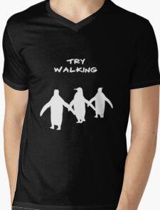 Pingoo white Mens V-Neck T-Shirt