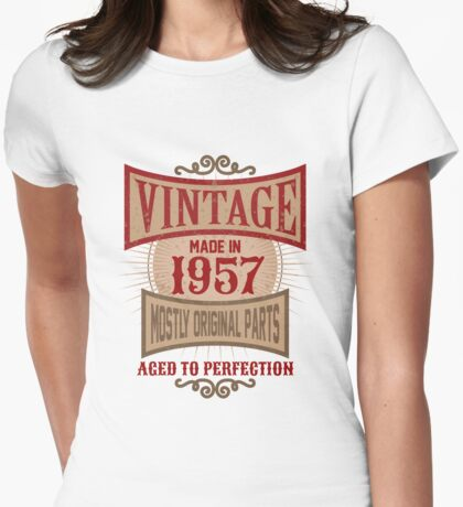 Vintage Made In 1957 Retro Birthday Gift Womens Fitted T-Shirt