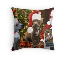 ☆ ★PRECIOUS MIRACLE ON PAWS- APBT- (DOGS) WITH SANTA -PICTURE/CARD HO HO HO RUFF RUFF-JUST FINISHED MAKING BARKING DOG VIDEO TO THE TUNE OF JINGLE BELLS ENJOY HUGS ☆ ★ Throw Pillow