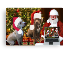 ☆ ★PRECIOUS MIRACLE ON PAWS- APBT- (DOGS) WITH SANTA -PICTURE/CARD HO HO HO RUFF RUFF-JUST FINISHED MAKING BARKING DOG VIDEO TO THE TUNE OF JINGLE BELLS ENJOY HUGS ☆ ★ Canvas Print