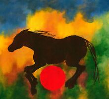 HORSE WITH RED BALL by dkatiepowellart
