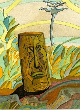 140 - STEVE'S FIRST CARVING (WATERCOLOUR - 2005) by BLYTHART