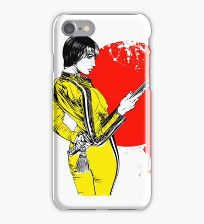 Women with sword on red sun iPhone Case/Skin