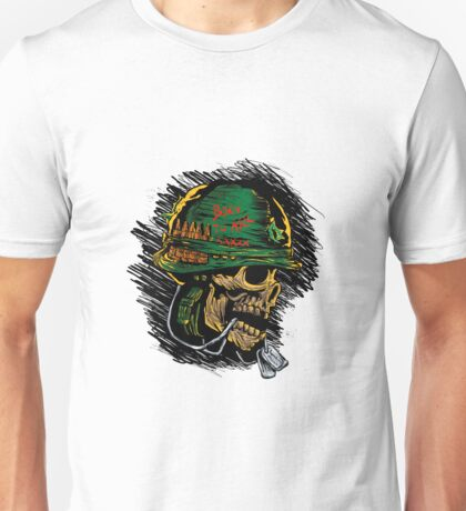 zombie with military helmet.zombie illustration Unisex T-Shirt