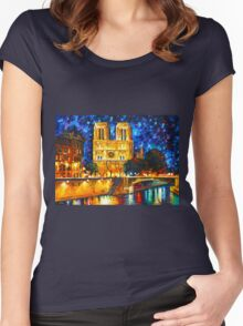 NOTRE DAME DE PARIS - Leonid Afremov CITYSCAPE Women's Fitted Scoop T-Shirt