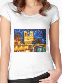 NOTRE DAME DE PARIS - Leonid Afremov CITYSCAPE Women's Fitted Scoop T-Shirt